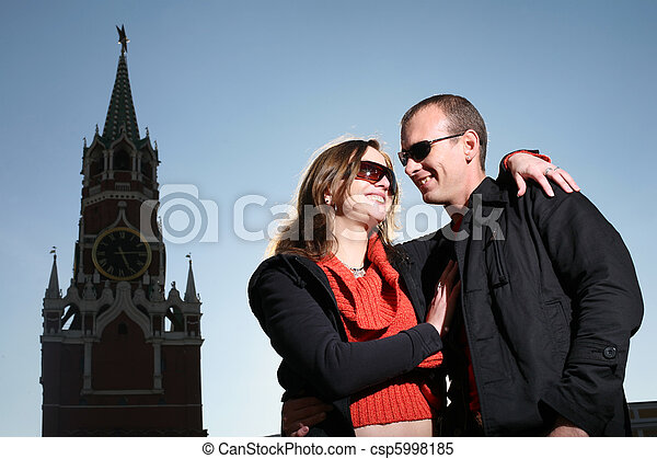 Young couple kissing at Red Square, Moscow, Russia - csp5998185
