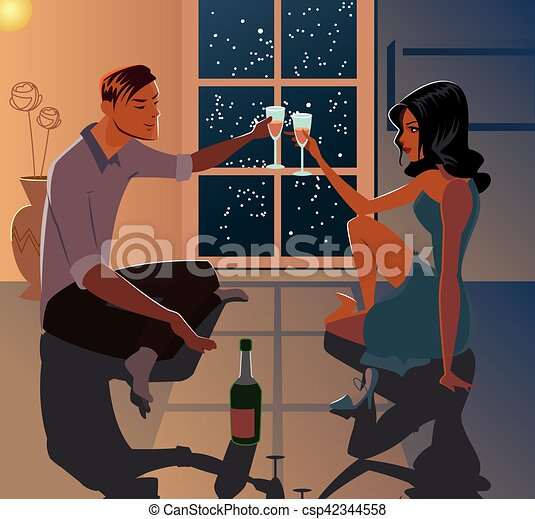 Young couple on a date. Love. A cozy cottage - csp42344558