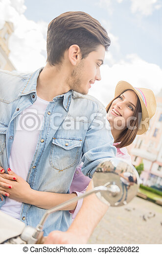 Young couple on scooter - csp29260822