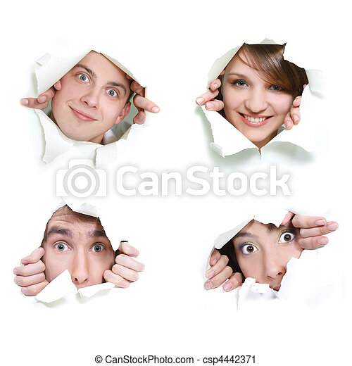 young couple peeping through hole in paper - csp4442371