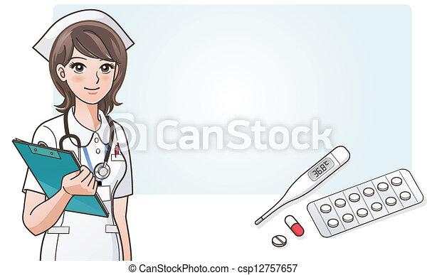 Young cute cartoon nurse with medic - csp12757657