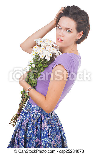young cute woman with flowers - csp25234873