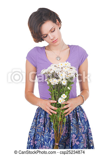young cute woman with flowers - csp25234874