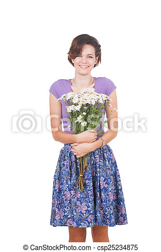 young cute woman with flowers - csp25234875