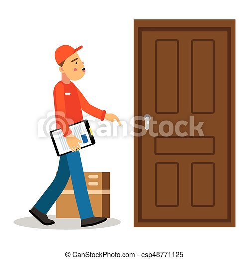 Young delivery man delivery parcel to the door courier in uniform at work cartoon character  sc 1 st  Can Stock Photo & Delivery man knocking at door vector illustration .... eps ... pezcame.com