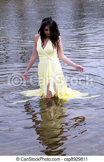 Young East Indian Woman Standing In River - csp8929811