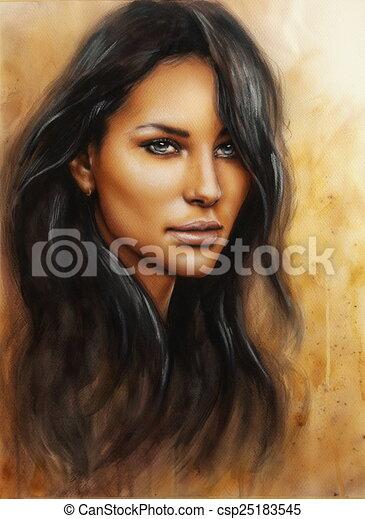 young enchanting woman face with long dark hair - csp25183545