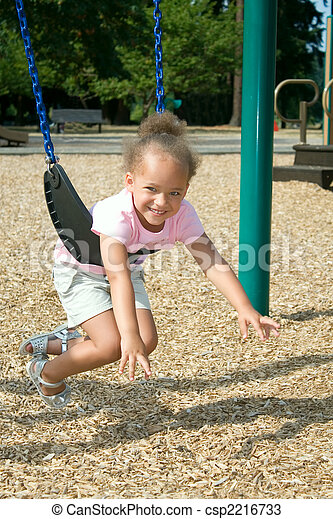 Young Ethnic Girl in Swing - csp2216733