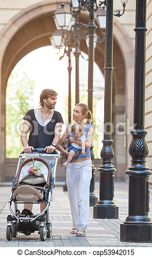 Young Family Baby Outdoors - csp53942015