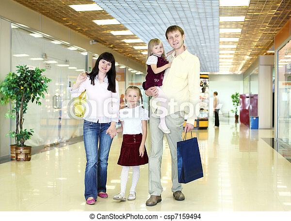 Young family doing shopping - csp7159494