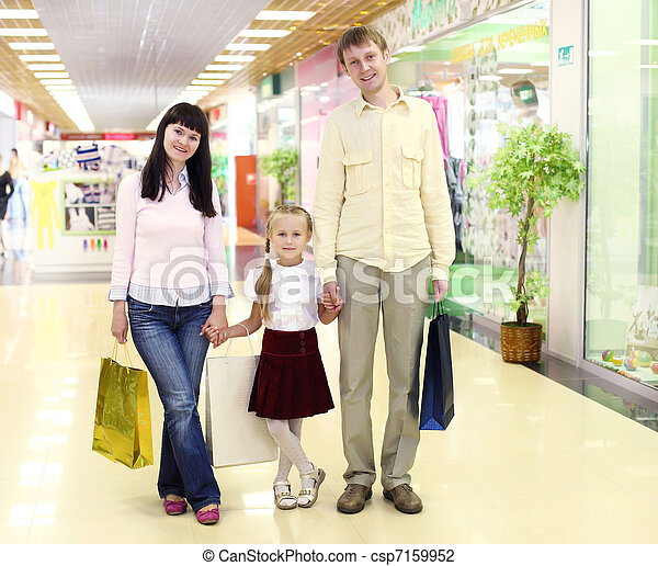 Young family doing shopping - csp7159952