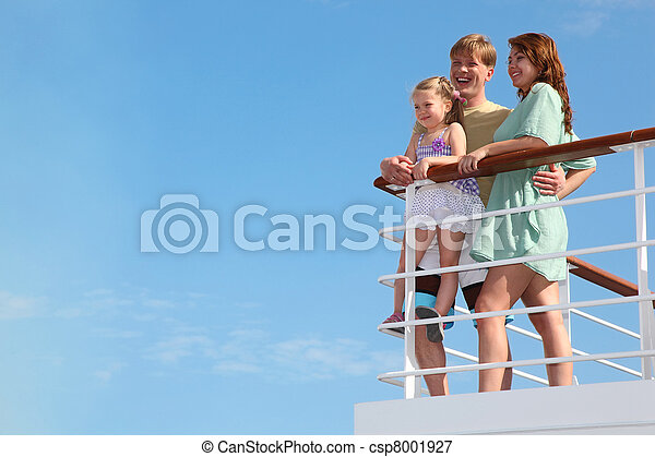 young family has summer leisure in cruise on motor ship - csp8001927