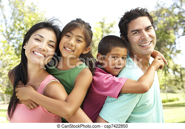 Young Family Having Fun In Park - csp7422850