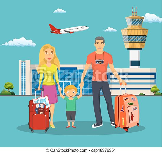 Young Family With Children In Front Of The Airport Building Man And Woman Luggage Go On A Trip Travel Plane Flies Sky Vector