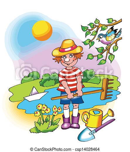 Young farmer boy on fine sunny day - csp14028464
