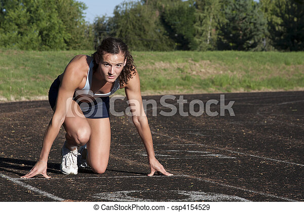 Young Female Athlete is ready for the Race. - csp4154529