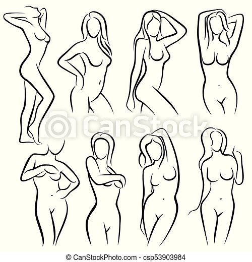 Young female body outline silhouettes vector beauty logos. woman ...