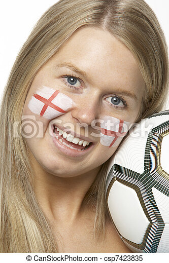 Young Female Football Fan With St Georges Flag Painted On Face - csp7423835