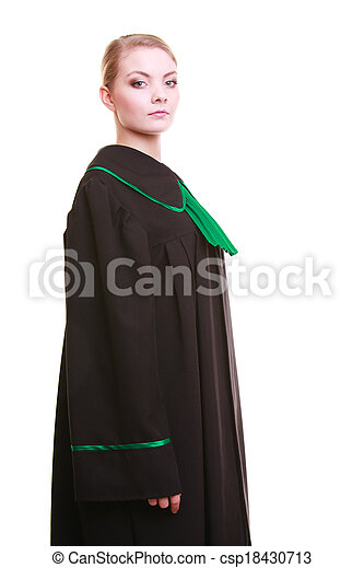 Young female lawyer attorney wearing classic polish black green gown - csp18430713