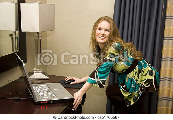 Young Female on Laptop Computer - csp1765567
