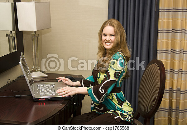 Young Female on Laptop Computer - csp1765568