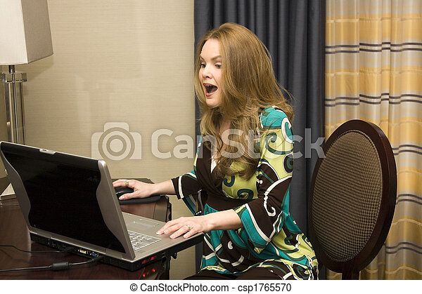 Young Female on Laptop Computer - csp1765570
