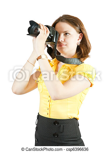Young female photographer - csp6396636