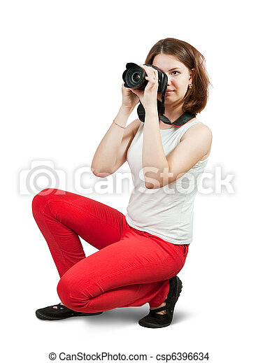 Young female photographer - csp6396634