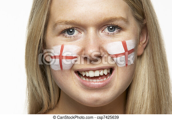 Young Female Sports Fan With St Georges Flag Painted On Face - csp7425639