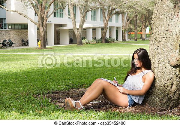 Young female student studying while sitting under a tree on campus - csp35452400