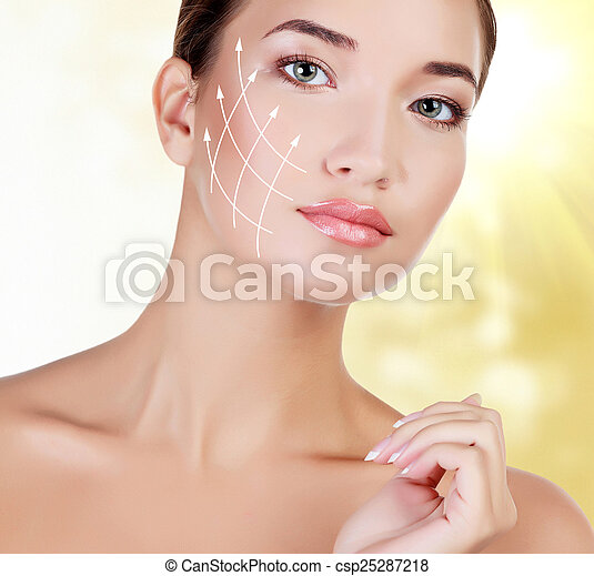 Young female with clean fresh skin - csp25287218