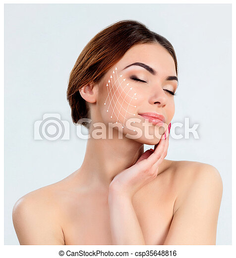 Young female with clean fresh skin - csp35648816