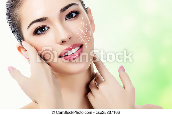 Young female with clean fresh skin - csp25287166