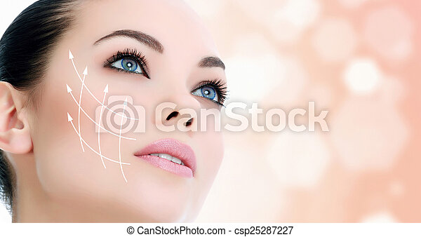 Young female with clean fresh skin - csp25287227