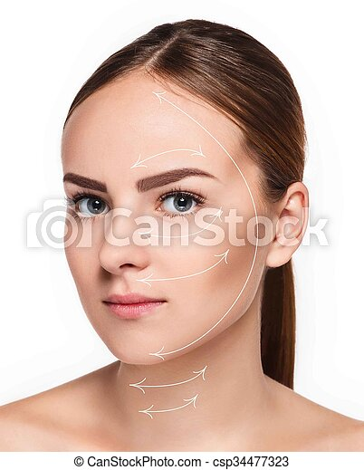 Young female with clean fresh skin - csp34477323