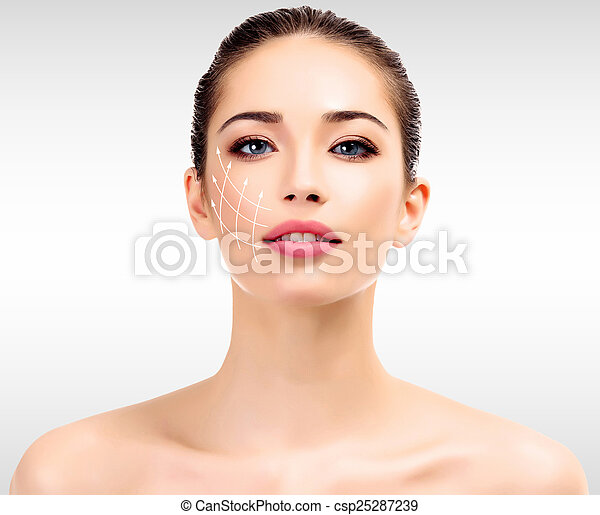 Young female with clean fresh skin - csp25287239