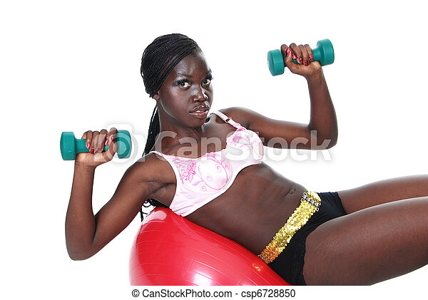 Young female working out weights - csp6728850