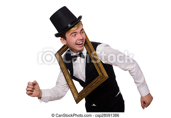 Young gentleman holding frame isolated on white pictures - Search ...