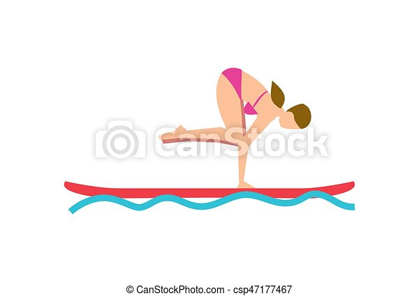 Young Girl Balancing On Sup Board