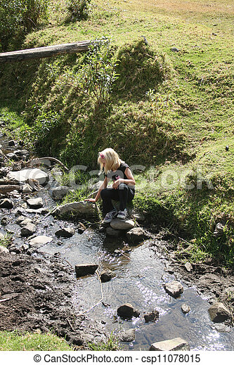 Young Girl by a Stream - csp11078015