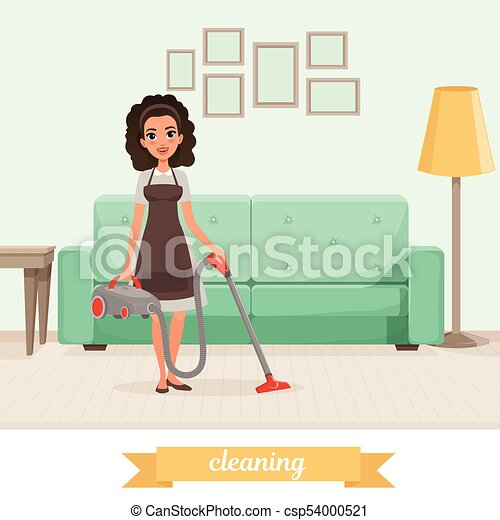 Young Girl Cleaning Floor With Vacuum Cleaner At Living Room Sofa