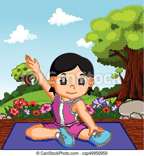 illustration of young girl doing yoga  canstock