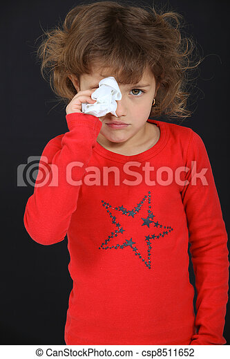 Young girl drying her tears - csp8511652