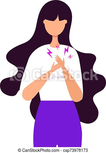 Young girl heart disease or stress and apathy concept. A woman holds herself by the heart. - csp73978173