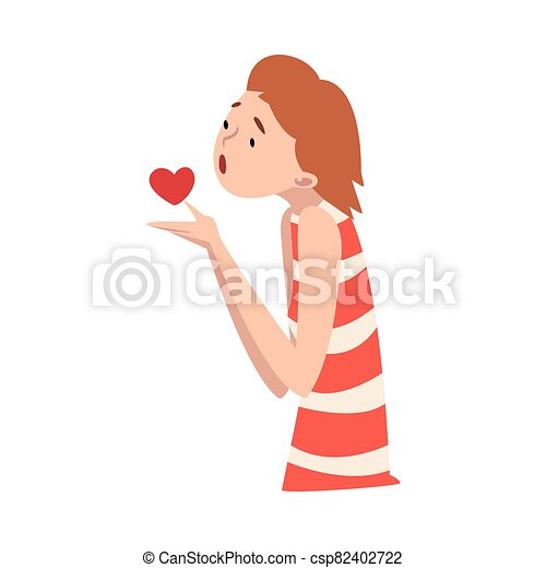 Young girl holds a heart in her hands. Vector illustration. - csp82402722