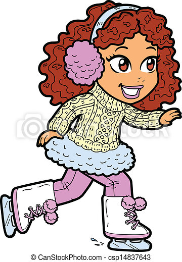 young girl ice skating cute young brunette girl ice skating with rh canstockphoto com