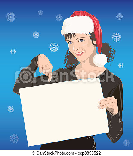 young girl in Santa hat - csp8853522