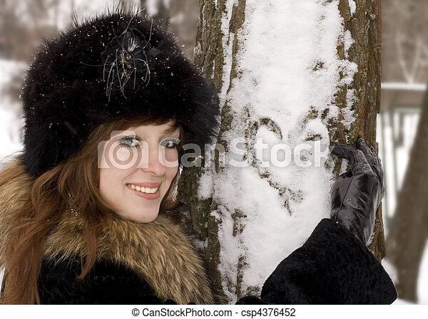 Young girl in the winter park - csp4376452