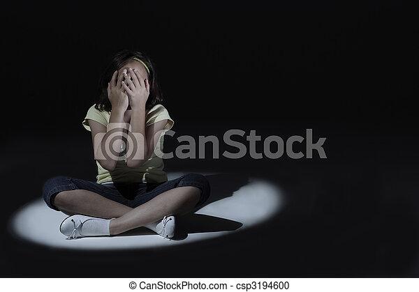 Young girl looking sad - csp3194600