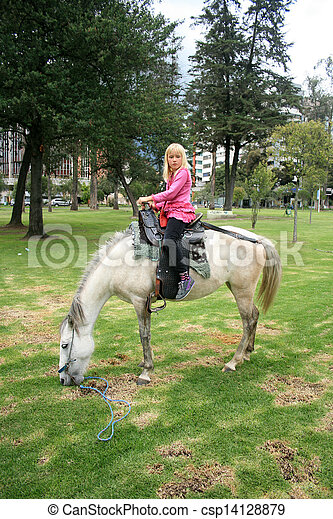Young Girl on a Horse - csp14128879